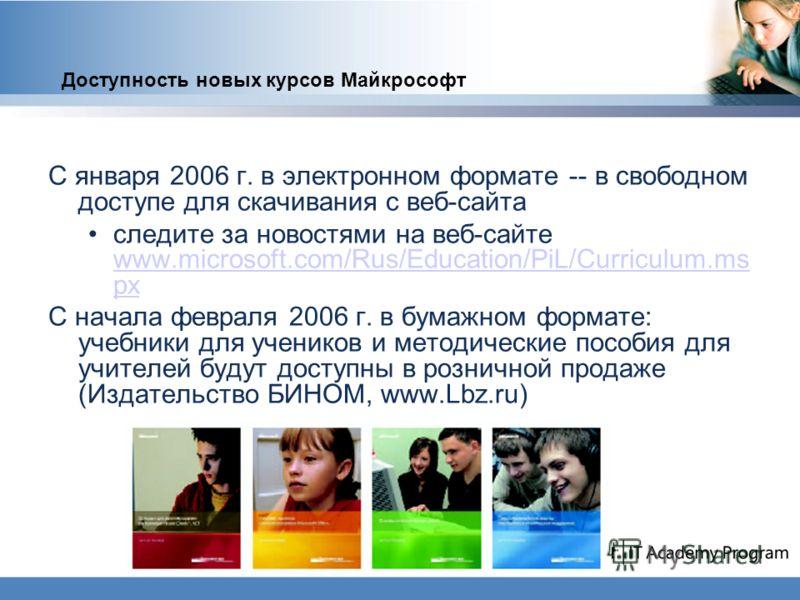 Доступность новых курсов Майкрософт С января 2006 г. в электронном формате -- в свободном доступе для скачивания с веб-сайта следите за новостями на веб-сайте www.microsoft.com/Rus/Education/PiL/Curriculum.ms px www.microsoft.com/Rus/Education/PiL/Cu
