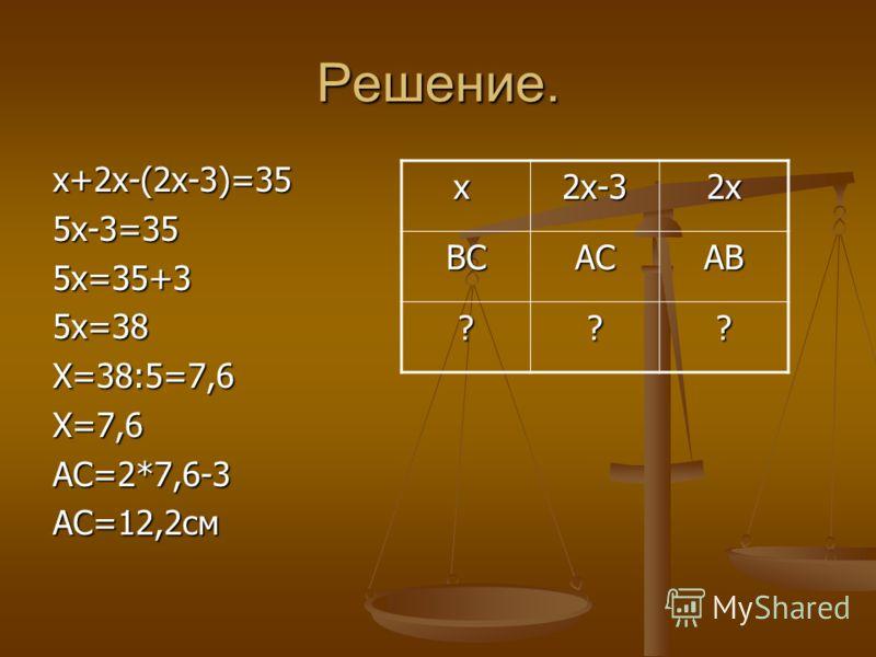 Решение. х+2х-(2х-3)=355х-3=355х=35+35х=38Х=38:5=7,6Х=7,6АС=2*7,6-3АС=12,2см х2х-32х ВСАСАВ ???