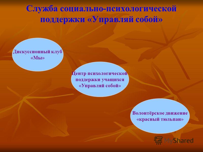 Служба социально-психологической поддержки «Управляй собой» Дискуссионный клуб «Мы» Центр психологической поддержки учащихся «Управляй собой» Волонтёрское движение «красный тюльпан»