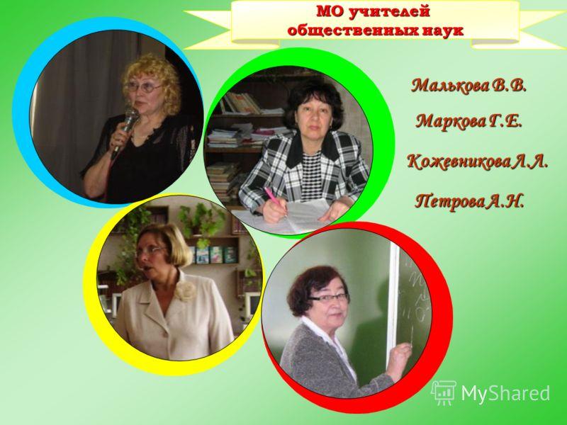общественных наук Малькова В.В. Маркова Г.Е. Кожевникова Л.Л. Петрова А.Н.