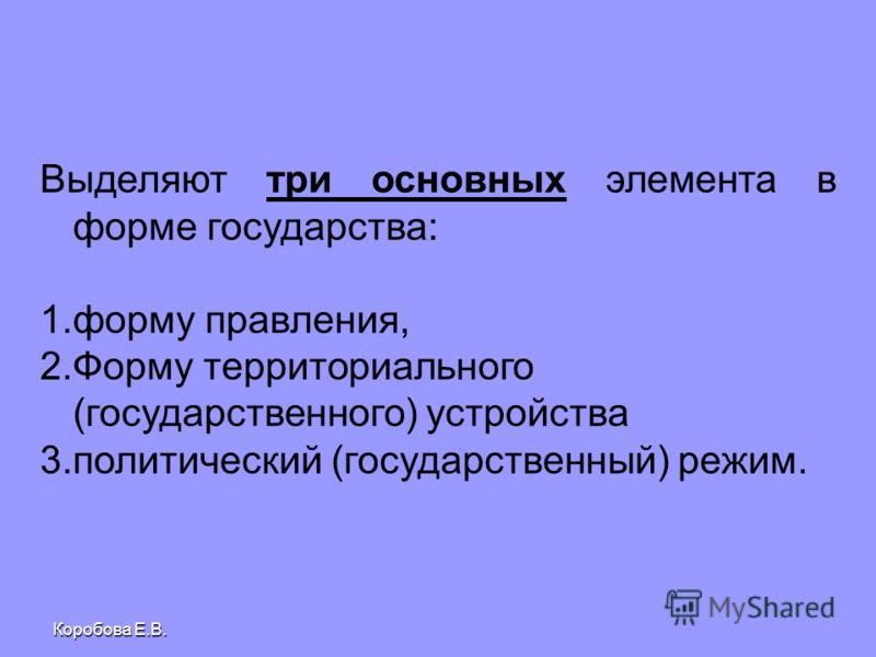 Коробова Е.В. Выделяют три основных элемента в форме государства: 1. 1.форму правления, 2. 2.Форму территориального (государственного) устройства 3. 3.политический (государственный) режим.