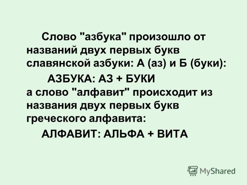 Слово азбука произошло от названий двух первых букв славянской азбуки: А (аз) и Б (буки): АЗБУКА: АЗ + БУКИ а слово алфавит происходит из названия двух первых букв греческого алфавита: АЛФАВИТ: АЛЬФА + ВИТА