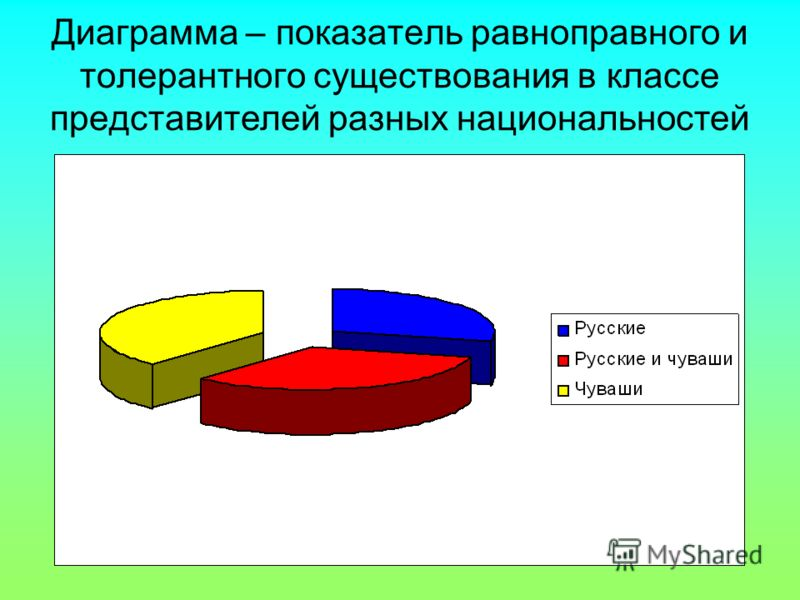 Диаграмма – показатель равноправного и толерантного существования в классе представителей разных национальностей