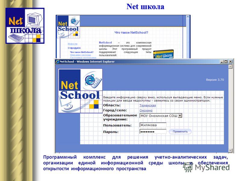 Net школа Программный комплекс для решения учетно-аналитических задач, организации единой информационной среды школы и обеспечения открытости информационного пространства
