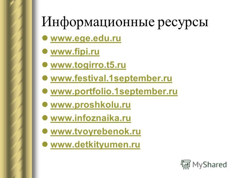 Информационные ресурсы www.ege.edu.ru www.fipi.ru www.fipi.ru www.togirro.t5.ru www.togirro.t5.ru www.festival.1september.ru www.festival.1september.ru www.portfolio.1september.ru www.proshkolu.ru www.infoznaika.ru www.tvoyrebenok.ru www.detkityumen.