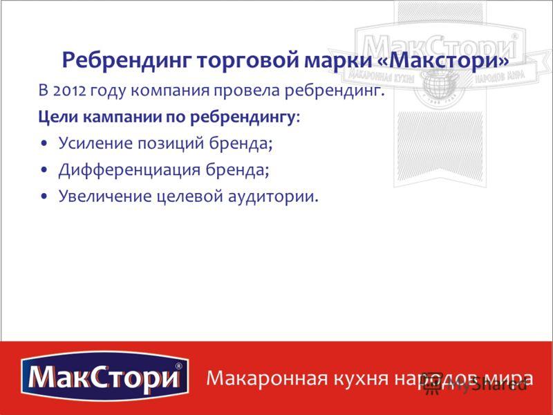Ребрендинг торговой марки «Макстори» В 2012 году компания провела ребрендинг. Цели кампании по ребрендингу: Усиление позиций бренда; Дифференциация бренда; Увеличение целевой аудитории.