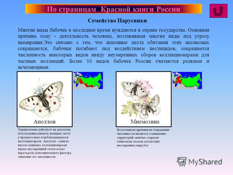 По страницам Красной книги России Многие виды бабочек в последнее время нуждаются в охране государства. Основная причина тому - деятельность человека, поставившая многие виды под угрозу вымирания.Это связано с тем, что исконные места обитания этих на