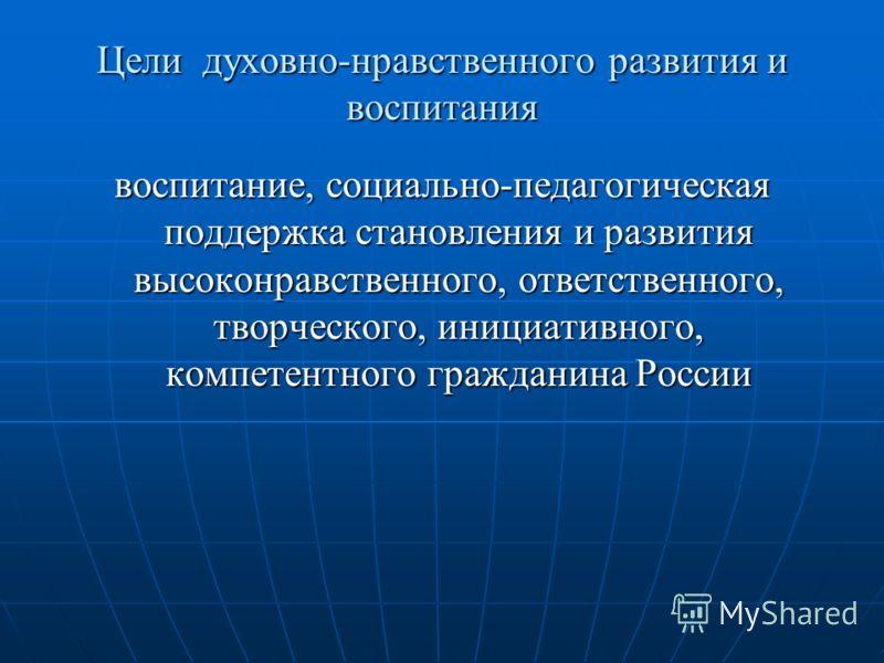 Цели духовно-нравственного развития и воспитания воспитание, социально-педагогическая поддержка становления и развития высоконравственного, ответственного, творческого, инициативного, компетентного гражданина России