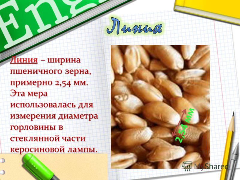 Линия – ширина пшеничного зерна, примерно 2,54 мм. Эта мера использовалась для измерения диаметра горловины в стеклянной части керосиновой лампы. 2,54 мм