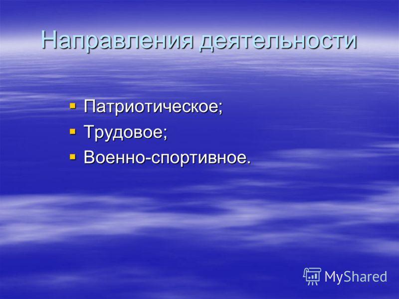 Направления деятельности Патриотическое; Трудовое; Военно-спортивное.