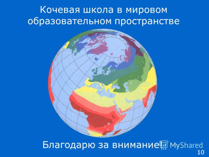 Благодарю за внимание! 10 Кочевая школа в мировом образовательном пространстве