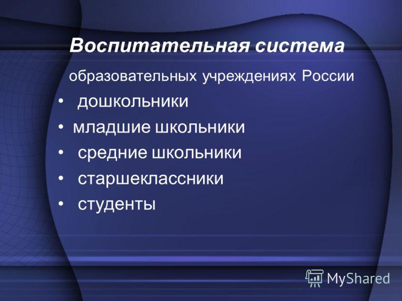 Воспитательная система образовательных учреждениях России дошкольники младшие школьники средние школьники старшеклассники студенты