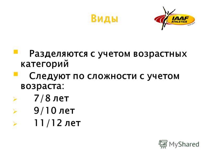 Разделяются с учетом возрастных категорий Следуют по сложности с учетом возраста: 7/8 лет 9/10 лет 11/12 лет Виды