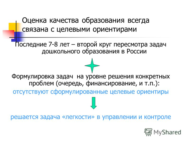 Последние 7-8 лет – второй круг пересмотра задач дошкольного образования в России Формулировка задач на уровне решения конкретных проблем (очередь, финансирование, и т.п.): отсутствуют сформулированные целевые ориентиры решается задача «легкости» в у