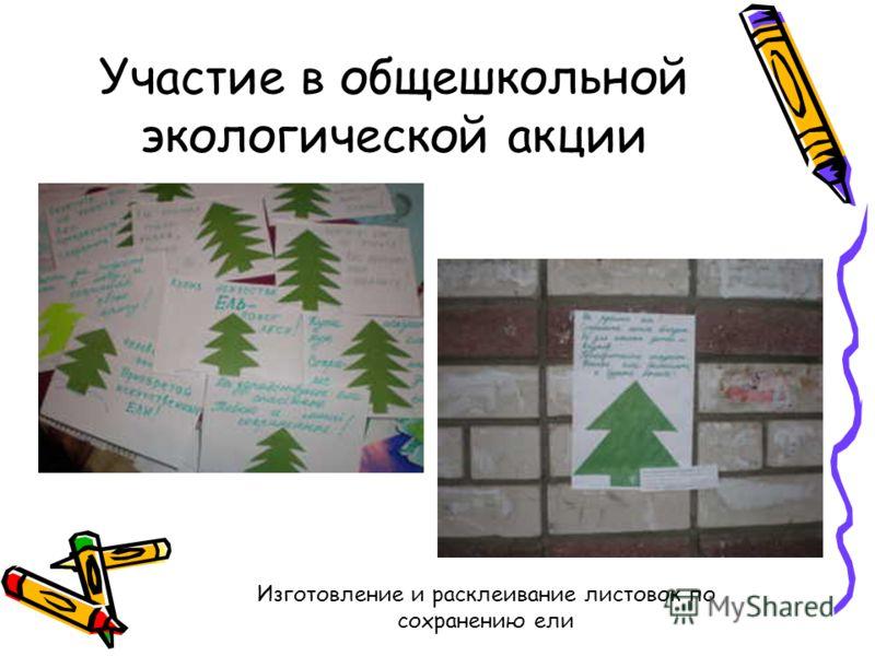 Участие в общешкольной экологической акции Изготовление и расклеивание листовок по сохранению ели