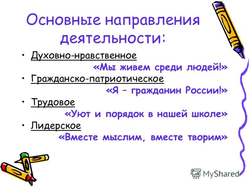 Основные направления деятельности: Духовно-нравственное «Мы живем среди людей!» Гражданско-патриотическое «Я – гражданин России!» Трудовое «Уют и порядок в нашей школе» Лидерское «Вместе мыслим, вместе творим»