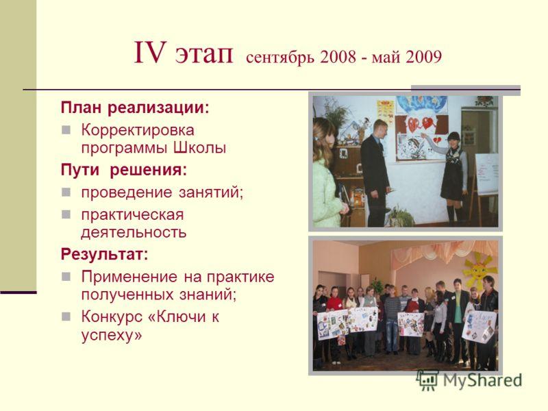 IV этап сентябрь 2008 - май 2009 План реализации: Корректировка программы Школы Пути решения: проведение занятий; практическая деятельность Результат: Применение на практике полученных знаний; Конкурс «Ключи к успеху»