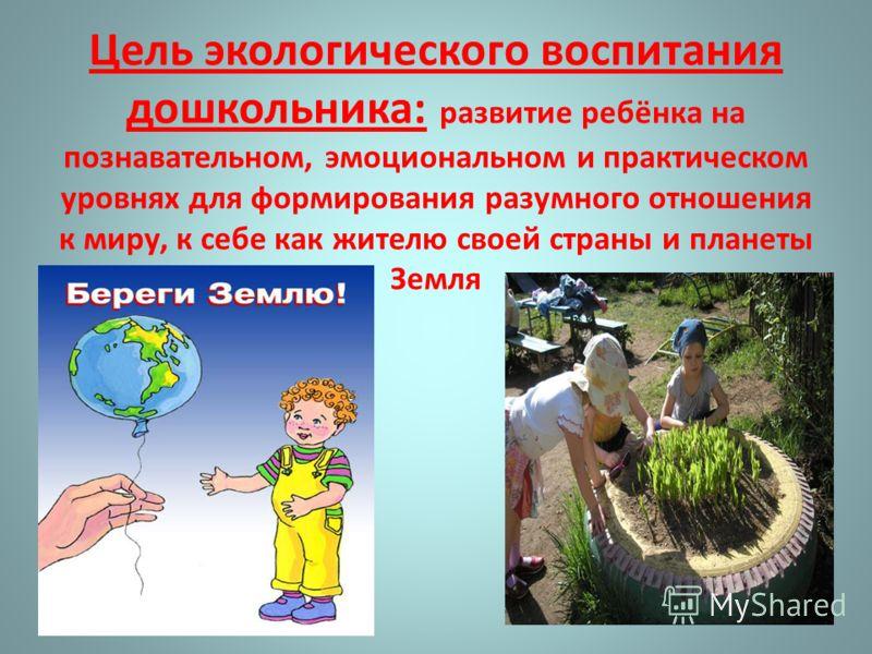Цель экологического воспитания дошкольника: развитие ребёнка на познавательном, эмоциональном и практическом уровнях для формирования разумного отношения к миру, к себе как жителю своей страны и планеты Земля