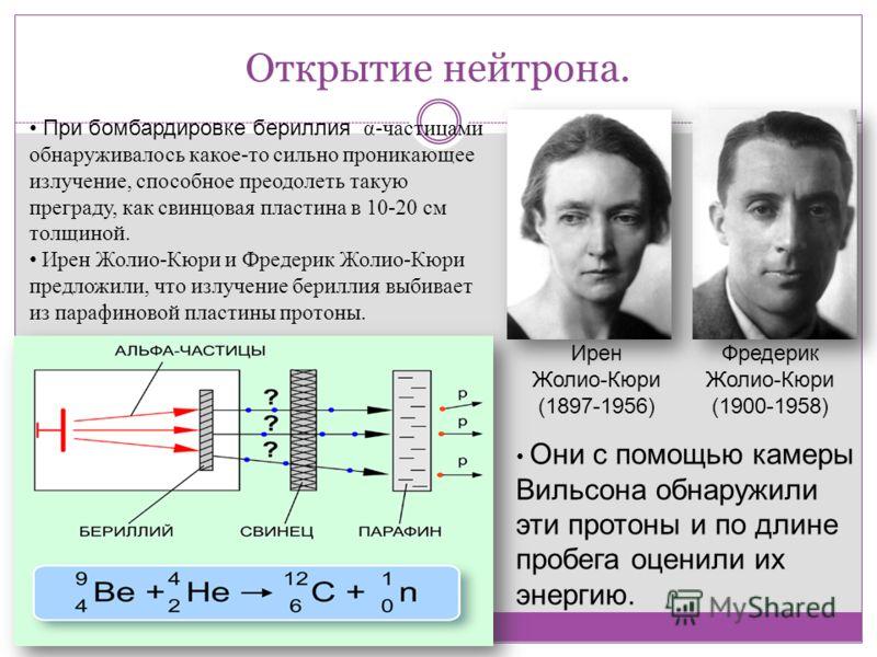 Открытие нейтрона. Ирен Жолио-Кюри (1897-1956) Фредерик Жолио-Кюри (1900-1958) При бомбардировке бериллия α-частицами обнаруживалось какое-то сильно проникающее излучение, способное преодолеть такую преграду, как свинцовая пластина в 10-20 см толщино