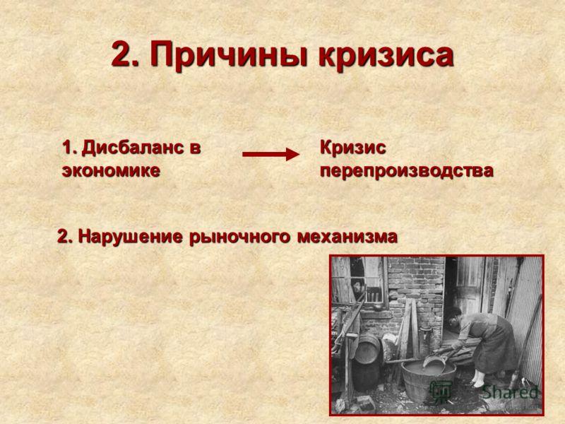 2. Причины кризиса 1. Дисбаланс в экономике Кризис перепроизводства 2. Нарушение рыночного механизма