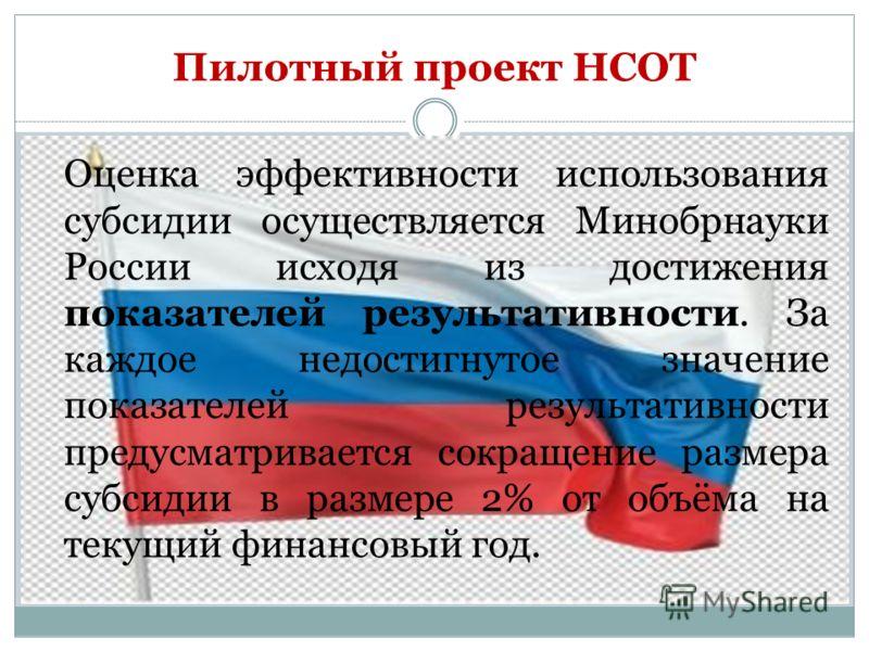 Пилотный проект НСОТ Оценка эффективности использования субсидии осуществляется Минобрнауки России исходя из достижения показателей результативности. За каждое недостигнутое значение показателей результативности предусматривается сокращение размера с