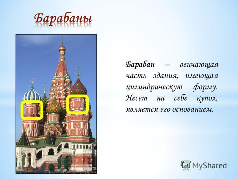 Барабан – венчающая часть здания, имеющая цилиндрическую форму. Несет на себе купол, является его основанием.
