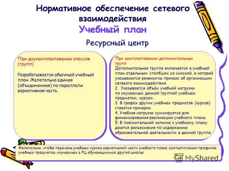 Учебный план Нормативное обеспечение сетевого взаимодействия Учебный план При доукомплектовании классов (групп) Разрабатывается обычный учебный план. Желательна единая (объединенная) по параллели вариативная часть. При комплектовании дополнительных г