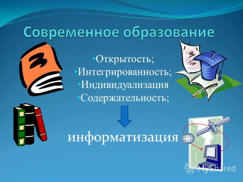 Открытость; Интегрированность; Индивидуализация Содержательность; информатизация