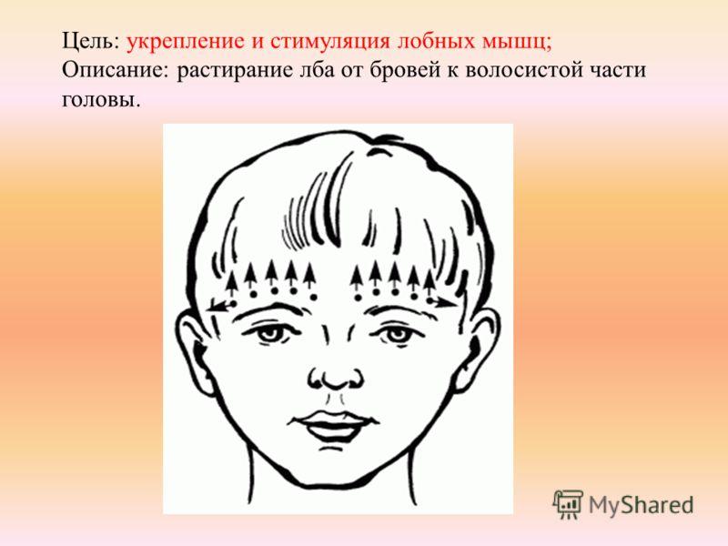 Цель: укрепление и стимуляция лобных мышц; Описание: растирание лба от бровей к волосистой части головы.