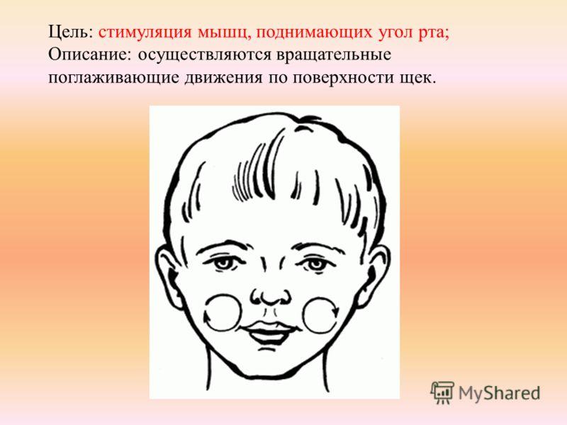 Цель: стимуляция мышц, поднимающих угол рта; Описание: осуществляются вращательные поглаживающие движения по поверхности щек.