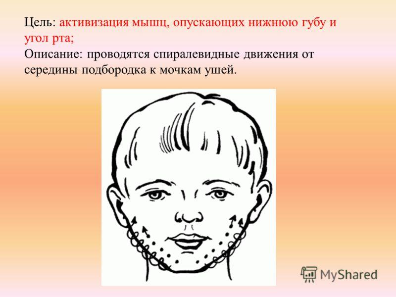 Цель: активизация мышц, опускающих нижнюю губу и угол рта; Описание: проводятся спиралевидные движения от середины подбородка к мочкам ушей.
