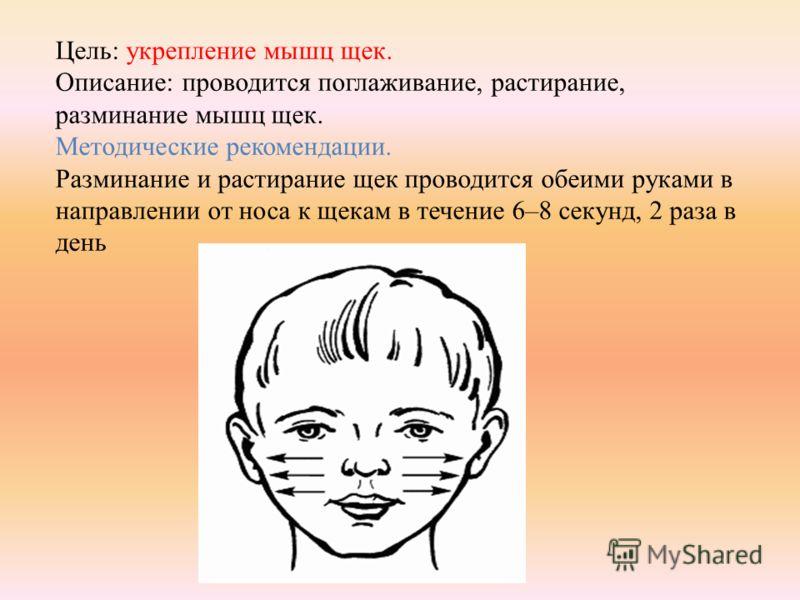 Цель: укрепление мышц щек. Описание: проводится поглаживание, растирание, разминание мышц щек. Методические рекомендации. Разминание и растирание щек проводится обеими руками в направлении от носа к щекам в течение 6–8 секунд, 2 раза в день