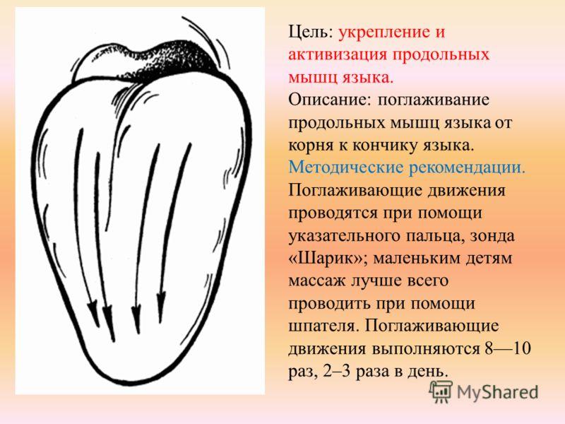 Цель: укрепление и активизация продольных мышц языка. Описание: поглаживание продольных мышц языка от корня к кончику языка. Методические рекомендации. Поглаживающие движения проводятся при помощи указательного пальца, зонда «Шарик»; маленьким детям