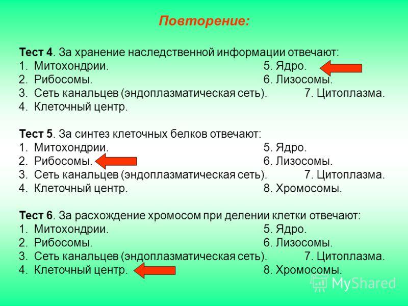 Тест 4. За хранение наследственной информации отвечают: 1.Митохондрии.5. Ядро. 2.Рибосомы.6. Лизосомы. 3.Сеть канальцев (эндоплазматическая сеть).7. Цитоплазма. 4.Клеточный центр. Тест 5. За синтез клеточных белков отвечают: 1.Митохондрии.5. Ядро. 2.