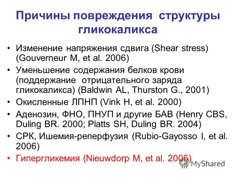 Причины повреждения структуры гликокаликса Изменение напряжения сдвига (Shear stress) (Gouverneur M, et al. 2006) Уменьшение содержания белков крови (поддержание отрицательного заряда гликокаликса) (Baldwin AL, Thurston G., 2001) Окисленные ЛПНП (Vin