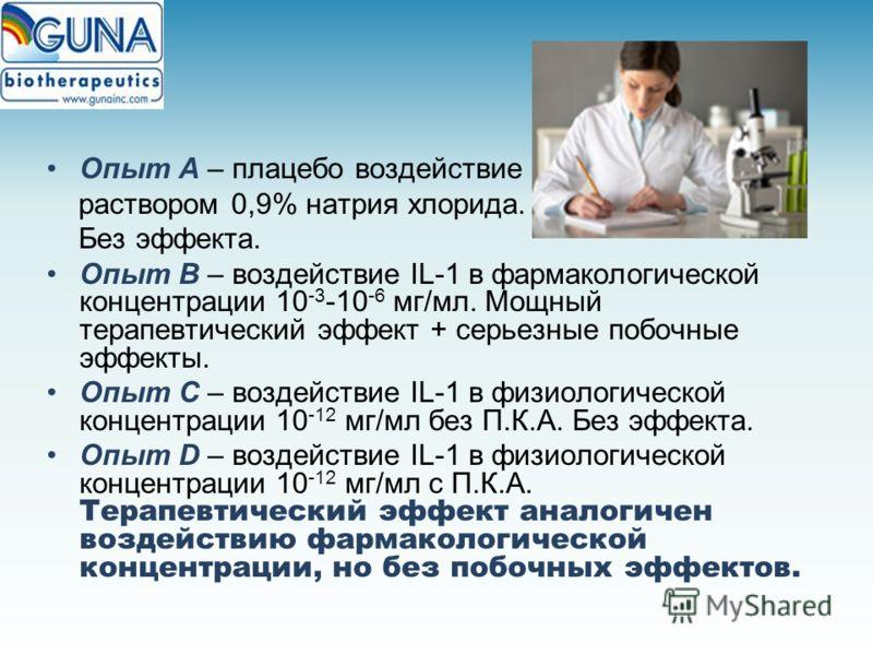 Опыт А – плацебо воздействие раствором 0,9% натрия хлорида. Без эффекта. Опыт В – воздействие IL-1 в фармакологической концентрации 10 -3 -10 -6 мг/мл. Мощный терапевтический эффект + серьезные побочные эффекты. Опыт С – воздействие IL-1 в физиологич