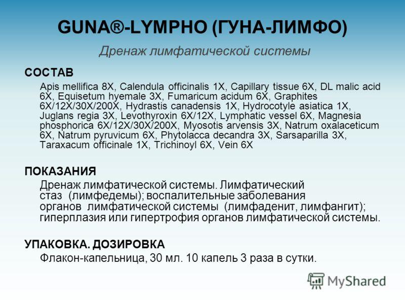 GUNA®-LYMPHO (ГУНА-ЛИМФО) Дренаж лимфатической системы СОСТАВ Apis mellifica 8X, Calendula officinalis 1X, Capillary tissue 6X, DL malic acid 6X, Equisetum hyemale 3X, Fumaricum acidum 6X, Graphites 6X/12X/30X/200X, Hydrastis canadensis 1X, Hydrocoty