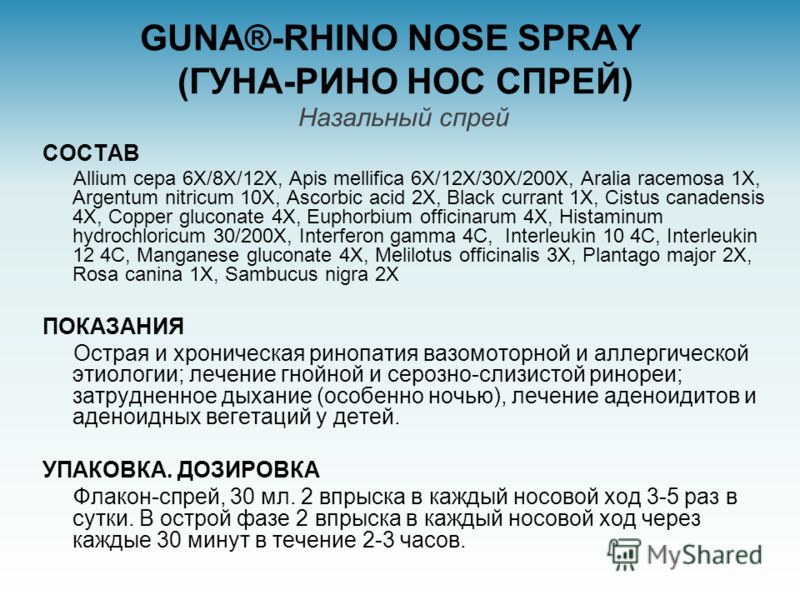 GUNA®-RHINO NOSE SPRAY (ГУНА-РИНО НОС СПРЕЙ) Назальный спрей СОСТАВ Allium cepa 6X/8X/12X, Apis mellifica 6X/12X/30X/200X, Aralia racemosa 1X, Argentum nitricum 10X, Ascorbic acid 2X, Black currant 1X, Cistus canadensis 4X, Copper gluconate 4X, Eupho