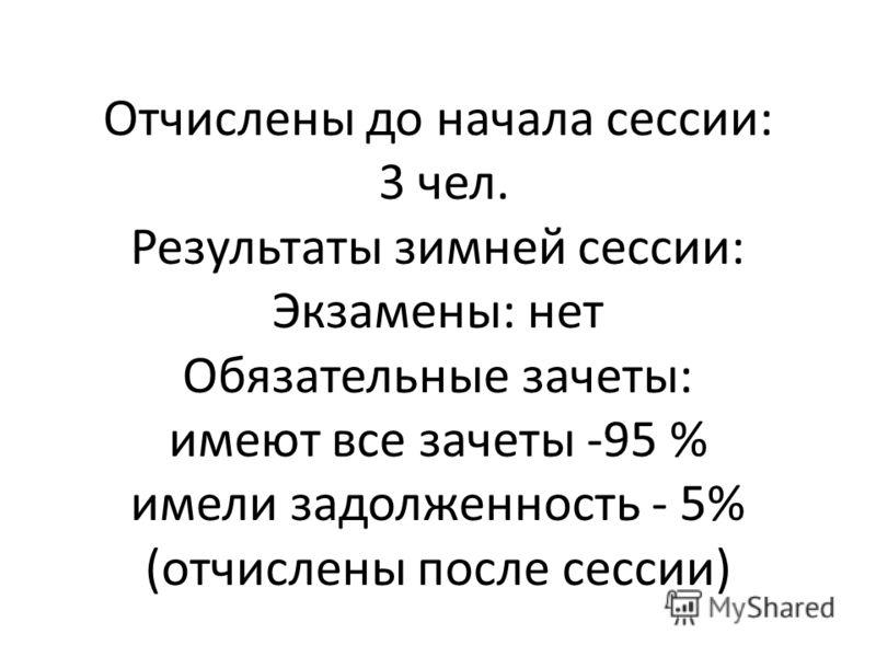 Отчислены до начала сессии: 3 чел. Результаты зимней сессии: Экзамены: нет Обязательные зачеты: имеют все зачеты -95 % имели задолженность - 5% (отчислены после сессии)