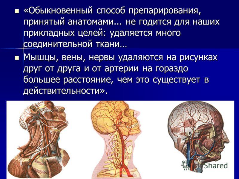 «Обыкновенный способ препарирования, принятый анатомами... не годится для наших прикладных целей: удаляется много соединительной ткани… «Обыкновенный способ препарирования, принятый анатомами... не годится для наших прикладных целей: удаляется много