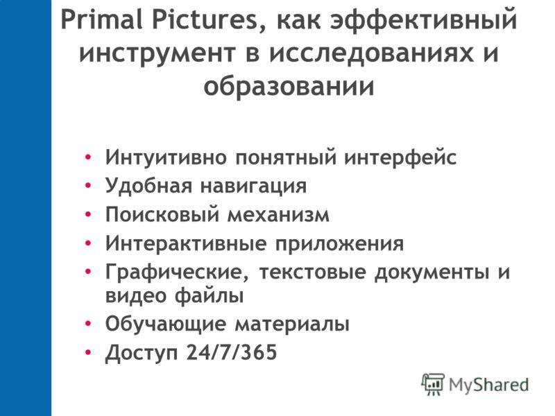 Primal Pictures, как эффективный инструмент в исследованиях и образовании Интуитивно понятный интерфейс Удобная навигация Поисковый механизм Интерактивные приложения Графические, текстовые документы и видео файлы Обучающие материалы Доступ 24/7/365