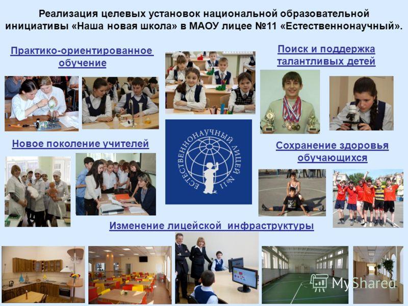 Реализация целевых установок национальной образовательной инициативы «Наша новая школа» в МАОУ лицее 11 «Естественнонаучный». Поиск и поддержка талантливых детей Изменение лицейской инфраструктуры Сохранение здоровья обучающихся Новое поколение учите