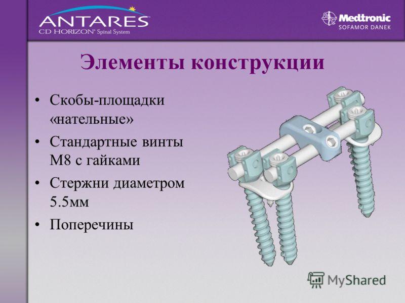 Элементы конструкции Скобы-площадки «нательные» Стандартные винты М8 с гайками Стержни диаметром 5.5мм Поперечины