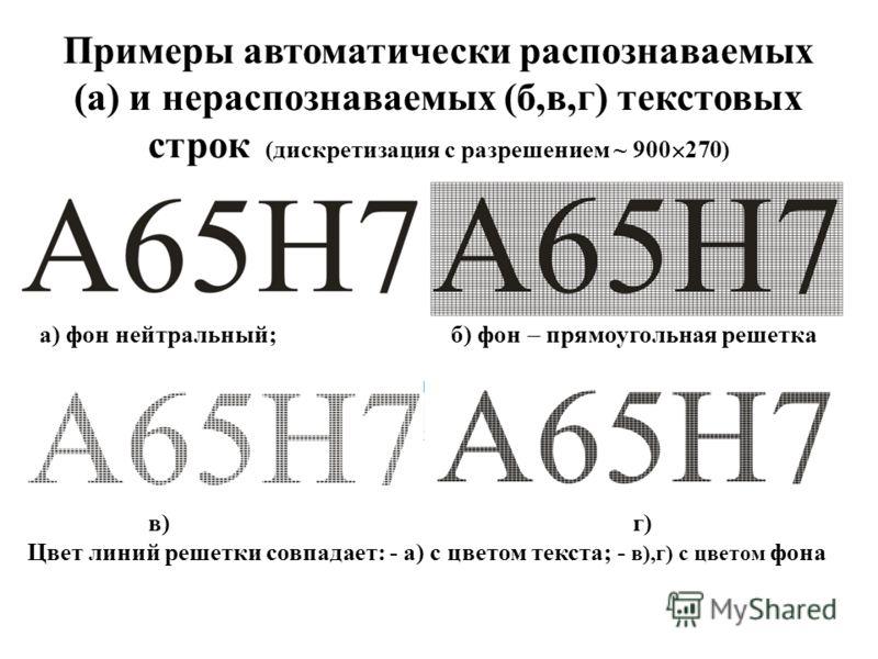 в) г) Цвет линий решетки совпадает: - а) с цветом текста; - в),г) с цветом фона а) фон нейтральный; б) фон прямоугольная решетка Примеры автоматически распознаваемых (а) и нераспознаваемых (б,в,г) текстовых строк (дискретизация с разрешением ~ 900 27