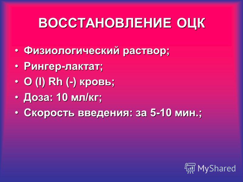 Физиологический раствор;Физиологический раствор; Рингер-лактат;Рингер-лактат; O (I) Rh (-) кровь;O (I) Rh (-) кровь; Доза: 10 мл/кг;Доза: 10 мл/кг; Скорость введения: за 5-10 мин.;Скорость введения: за 5-10 мин.; ВОССТАНОВЛЕНИЕ ОЦК