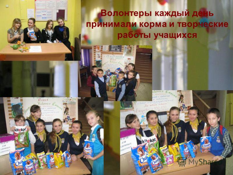 Волонтеры каждый день принимали корма и творческие работы учащихся