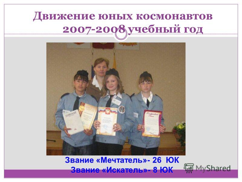 Движение юных космонавтов 2007-2008 учебный год Звание «Мечтатель»- 26 ЮК Звание «Искатель»- 8 ЮК