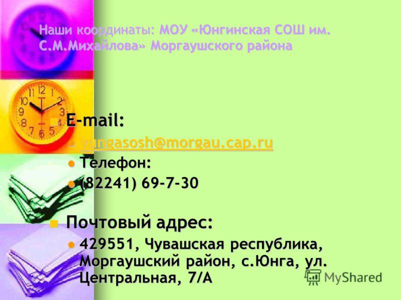 Наши координаты: МОУ «Юнгинская СОШ им. С.М.Михайлова» Моргаушского района E-mail: E-mail: yungasosh@morgau.cap.ru yungasosh@morgau.cap.ru yungasosh@morgau.cap.ru Телефон: Телефон: (82241) 69-7-30 (82241) 69-7-30 Почтовый адрес: Почтовый адрес: 42955