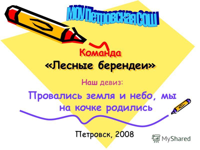 Команда «Лесные берендеи» Петровск, 2008 Наш девиз: Провались земля и небо, мы на кочке родились