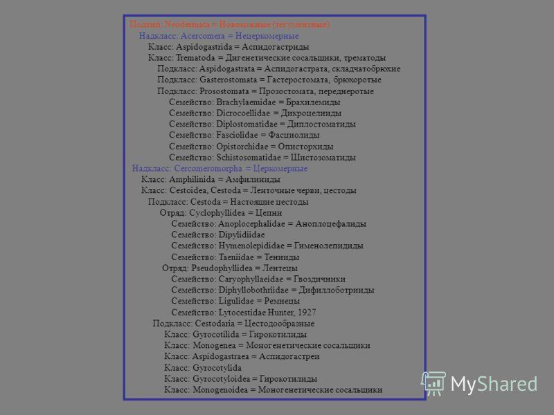 Подтип: Neodermata = Новокожные (тегументные) Надкласс: Acercomera = Нецеркомерные Класс: Aspidogastrida = Аспидогастриды Класс: Trematoda = Дигенетические сосальщики, трематоды Подкласс: Aspidogastrata = Аспидогастрата, складчатобрюхие Подкласс: Gas